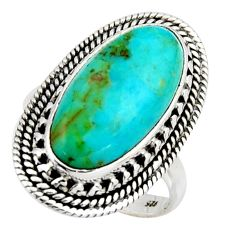10.70cts blue arizona mohave turquoise 925 silver solitaire ring size 8.5 r3652
