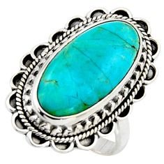 10.02cts blue arizona mohave turquoise 925 silver solitaire ring size 8.5 r3653