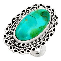 11.02cts blue arizona mohave turquoise 925 silver solitaire ring size 9 r3655