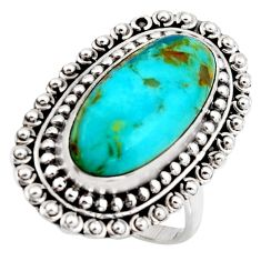 10.89cts blue arizona mohave turquoise 925 silver solitaire ring size 8.5 r3657