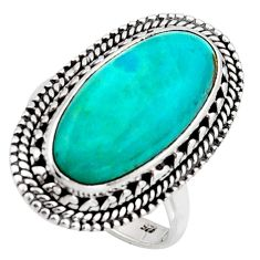 925 silver 10.37cts blue arizona mohave turquoise solitaire ring size 7.5 r3658