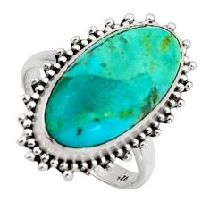 9.47cts blue arizona mohave turquoise 925 silver solitaire ring size 8 r3660