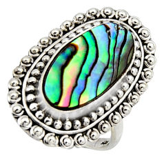 7.23cts natural abalone paua seashell 925 silver solitaire ring size 8.5 r3671