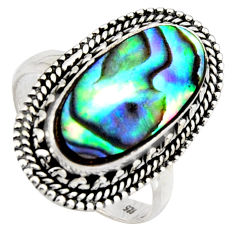 7.12cts natural green abalone paua seashell silver solitaire ring size 8.5 r3672
