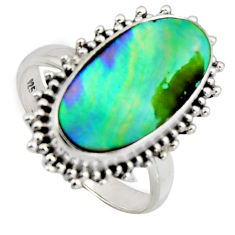 6.80cts natural abalone paua seashell 925 silver solitaire ring size 7 r3673
