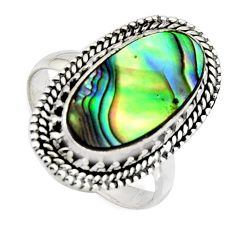 925 silver 7.12cts natural abalone paua seashell solitaire ring size 9 r3675