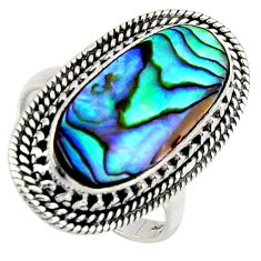 8.65cts natural green abalone paua seashell silver solitaire ring size 9 r3676