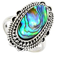 7.12cts natural abalone paua seashell 925 silver solitaire ring size 9 r3677