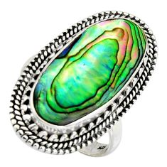 925 silver 10.30cts natural abalone paua seashell solitaire ring size 8 r3678