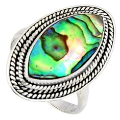 8.14cts natural abalone paua seashell 925 silver solitaire ring size 9 r3679