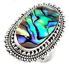 8.24cts natural abalone paua seashell 925 silver solitaire ring size 8 r3680