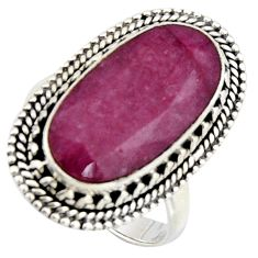 10.89cts natural red ruby 925 sterling silver solitaire ring size 8 r3686