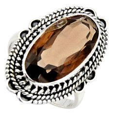 10.54cts brown smoky topaz 925 sterling silver solitaire ring size 8.5 r3694