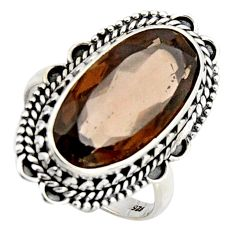 10.54cts brown smoky topaz 925 sterling silver solitaire ring size 8.5 r3695