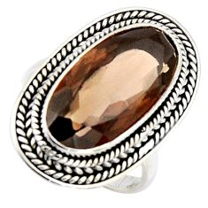10.89cts brown smoky topaz 925 sterling silver solitaire ring size 8 r3696