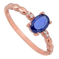 1.77cts natural blue sapphire 925 silver 14k gold ring size 8 r3821