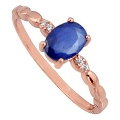 1.77cts natural blue sapphire 925 silver 14k gold ring size 8 r3822