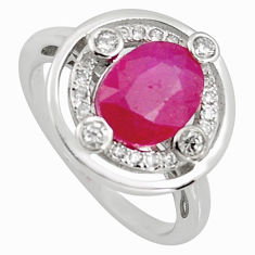 3.13cts natural red ruby cubic zirconia 925 sterling silver ring size 6 r3841