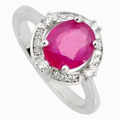 3.32cts natural red ruby cubic zirconia 925 sterling silver ring size 6 r3843