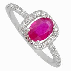2.84cts natural red ruby cubic zirconia 925 sterling silver ring size 7.5 r3847