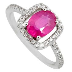3.50cts natural red ruby cubic zirconia 925 sterling silver ring size 7.5 r3855