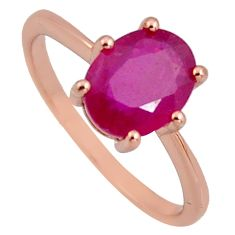 2.73cts natural red ruby cubic zirconia 925 silver 14k gold ring size 7 r3864