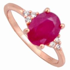 3.42cts natural red ruby cubic zirconia 925 silver 14k gold ring size 7 r3874