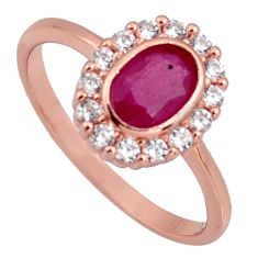 2.60cts natural red ruby cubic zirconia 925 silver 14k gold ring size 7.5 r3877