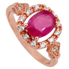 3.06cts natural red ruby cubic zirconia 925 silver 14k gold ring size 8 r3880