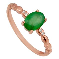 1.52cts natural green emerald 925 silver 14k gold ring size 7 r3884