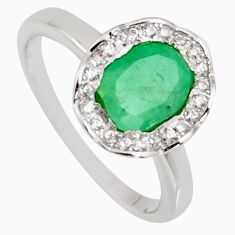 2.90cts natural green emerald cubic zirconia 925 silver ring size 6 r3903