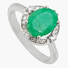 3.66cts natural green emerald cubic zirconia 925 silver ring size 7 r3904