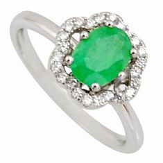 2.54cts natural green emerald cubic zirconia 925 silver ring size 6 r3908
