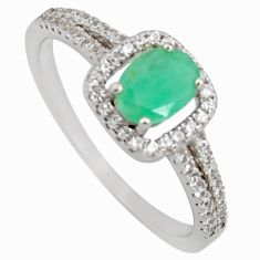 2.57cts natural green emerald cubic zirconia 925 silver ring size 9 r3910