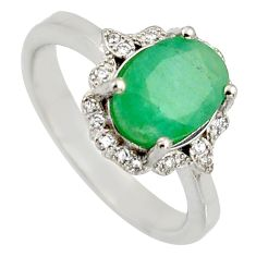 4.52cts natural green emerald cubic zirconia 925 silver ring size 7.5 r3916