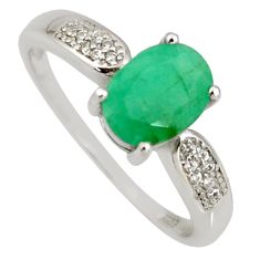 3.29cts natural green emerald cubic zirconia 925 silver ring size 9 r3917