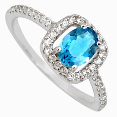 2.92cts london natural blue topaz cubic zirconia 925 silver ring size 7 r3929