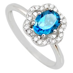 2.58cts london natural blue topaz cubic zirconia 925 silver ring size 6.5 r3930