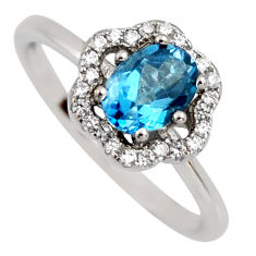 2.58cts london natural blue topaz cubic zirconia 925 silver ring size 7 r3934
