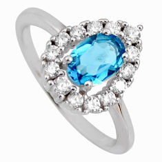 2.38cts london natural blue topaz cubic zirconia 925 silver ring size 6 r3937