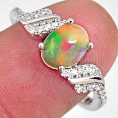 2.86cts natural multi color ethiopian opal zircon 925 silver ring size 7.5 r3943