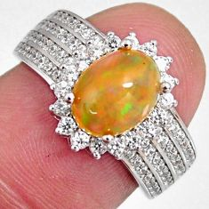 925 silver 4.30cts natural multi color ethiopian opal zircon ring size 6 r3944