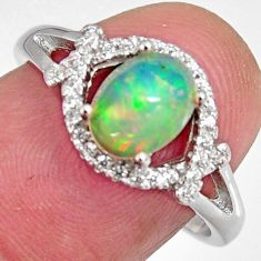 2.92cts natural multi color ethiopian opal zircon 925 silver ring size 7.5 r3945