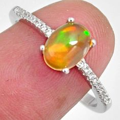 925 silver 2.59cts natural multi color ethiopian opal zircon ring size 8.5 r3952