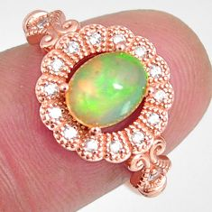 2.93cts natural multi color ethiopian opal 925 silver 14k gold ring size 7 r3961