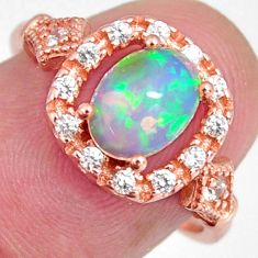925 silver 3.10cts natural multi color ethiopian opal 14k gold ring size 7 r3964