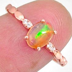 1.61cts natural multi color ethiopian opal 925 silver 14k gold ring size 7 r3967