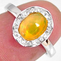 2.86cts natural multi color ethiopian opal zircon 925 silver ring size 6 r3970