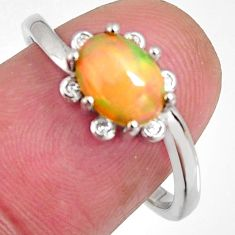 2.92cts natural multi color ethiopian opal zircon 925 silver ring size 8 r3974