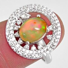 4.36cts natural multi color ethiopian opal zircon 925 silver ring size 8 r3978